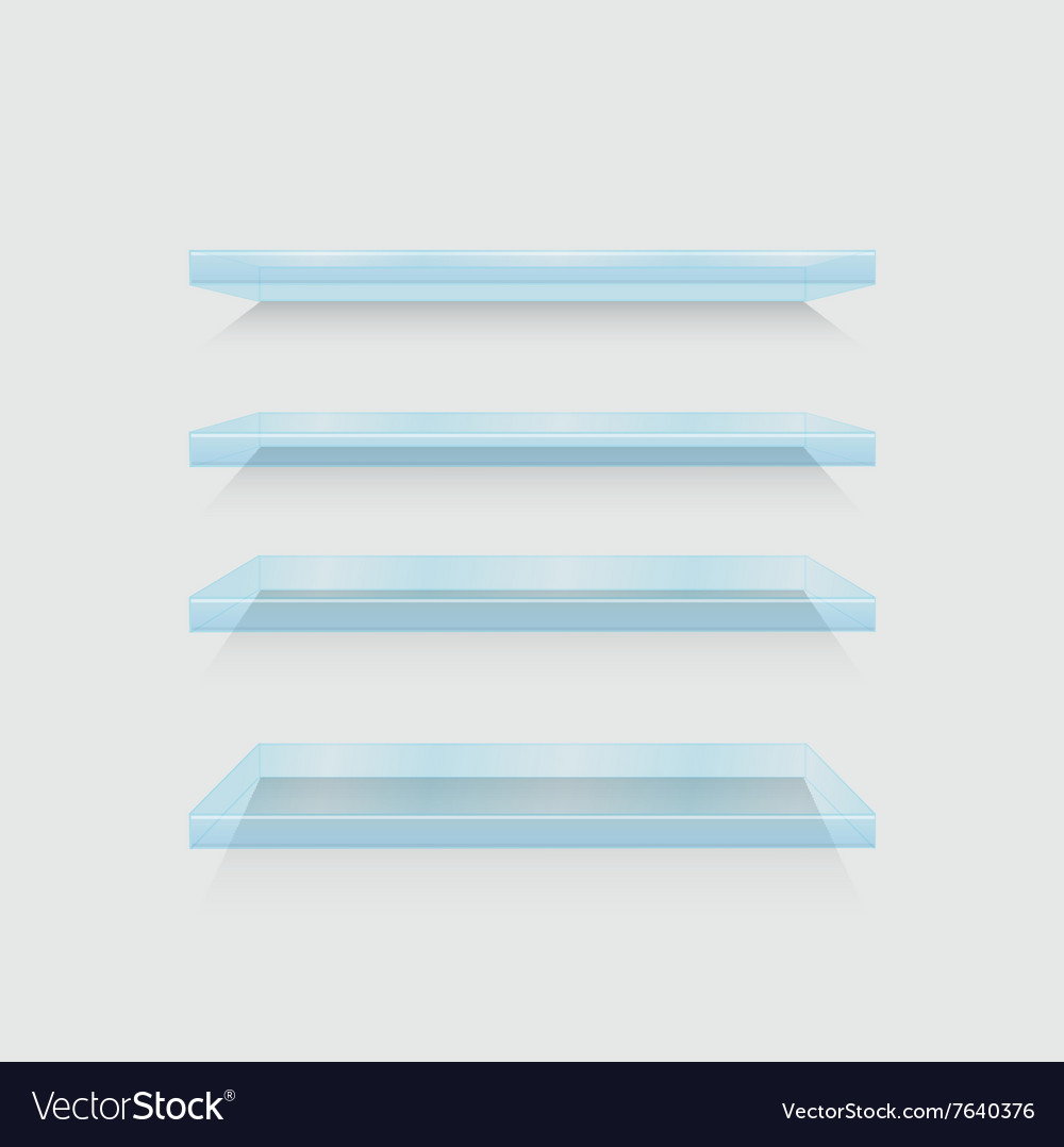 Modern flass shelfs set on gray vector