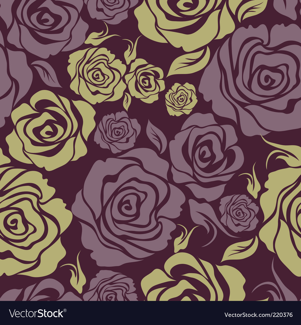 Seamless vintage flower rose pattern vector