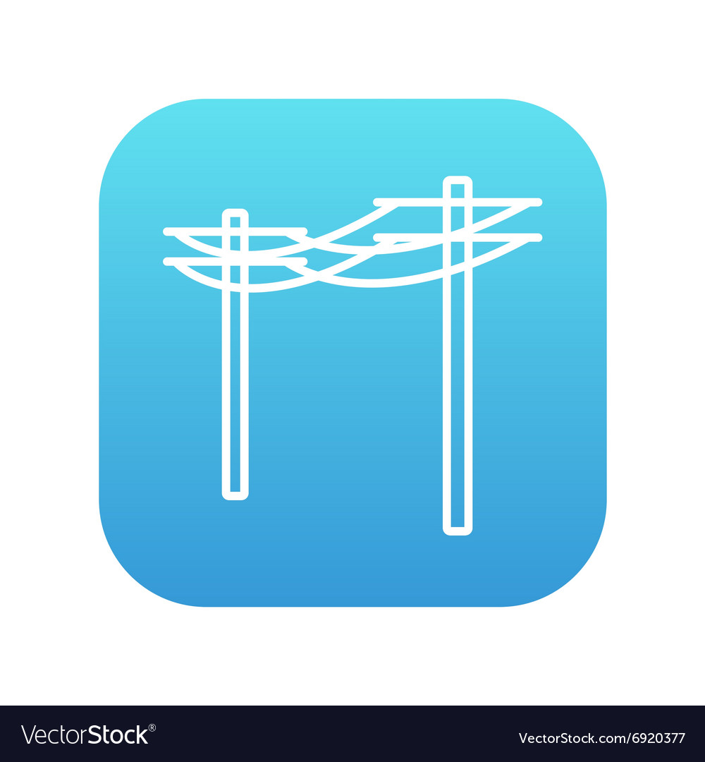 High voltage power lines line icon vector
