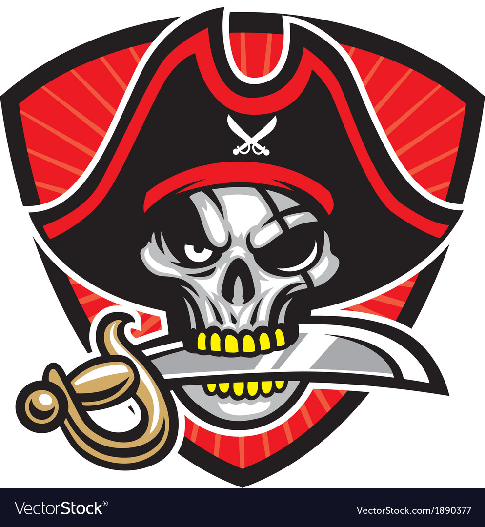 Pirate skull mascot vector