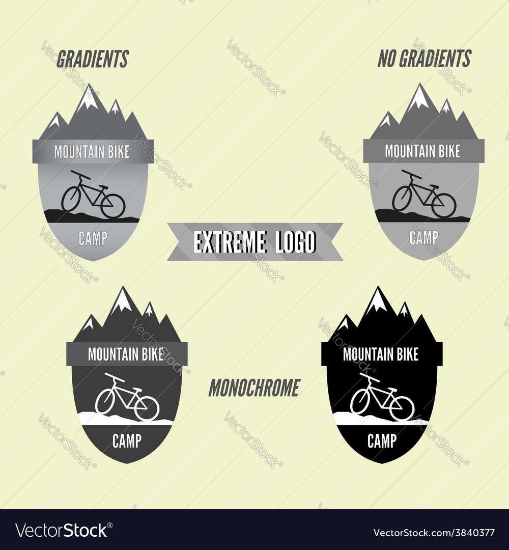 Set of mountain bike camping logo badge and banner vector