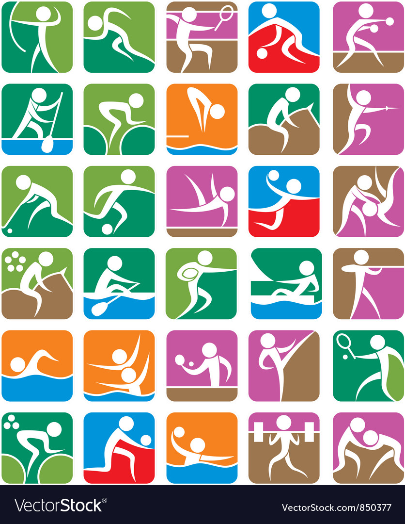 Summer sports symbols colorful vector