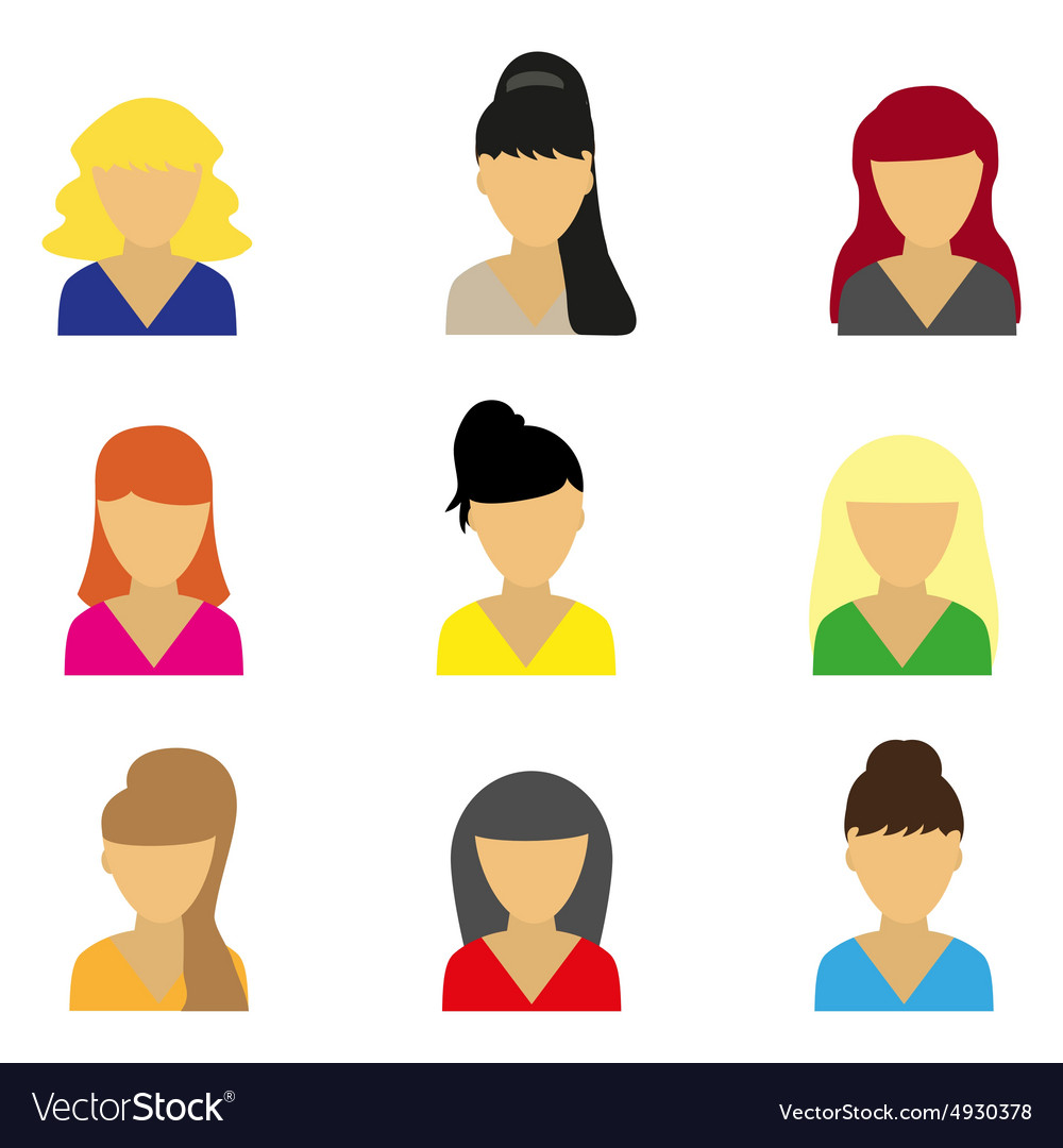 Business icons young beautiful women vector