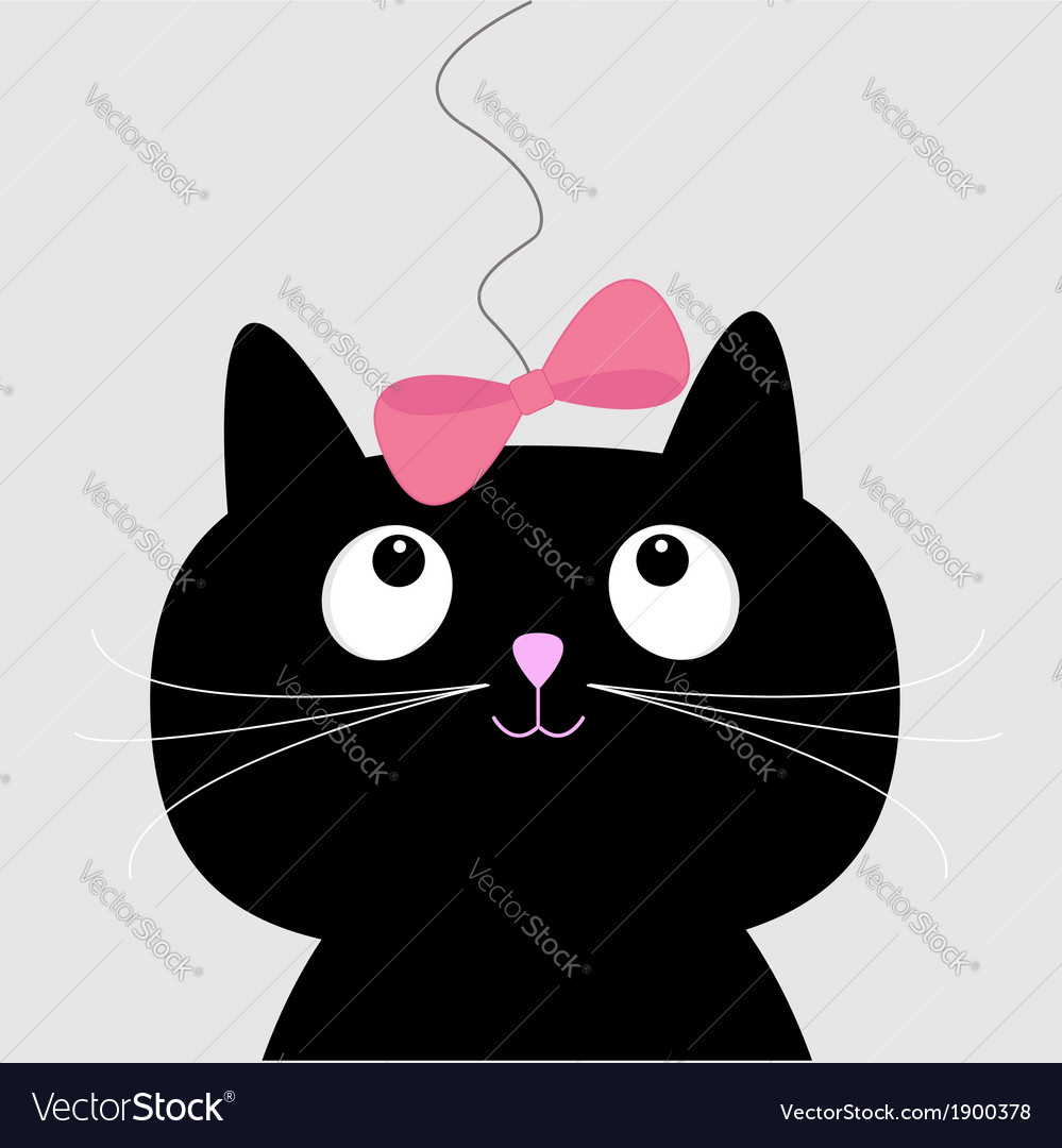 Cute cartoon black cat card vector