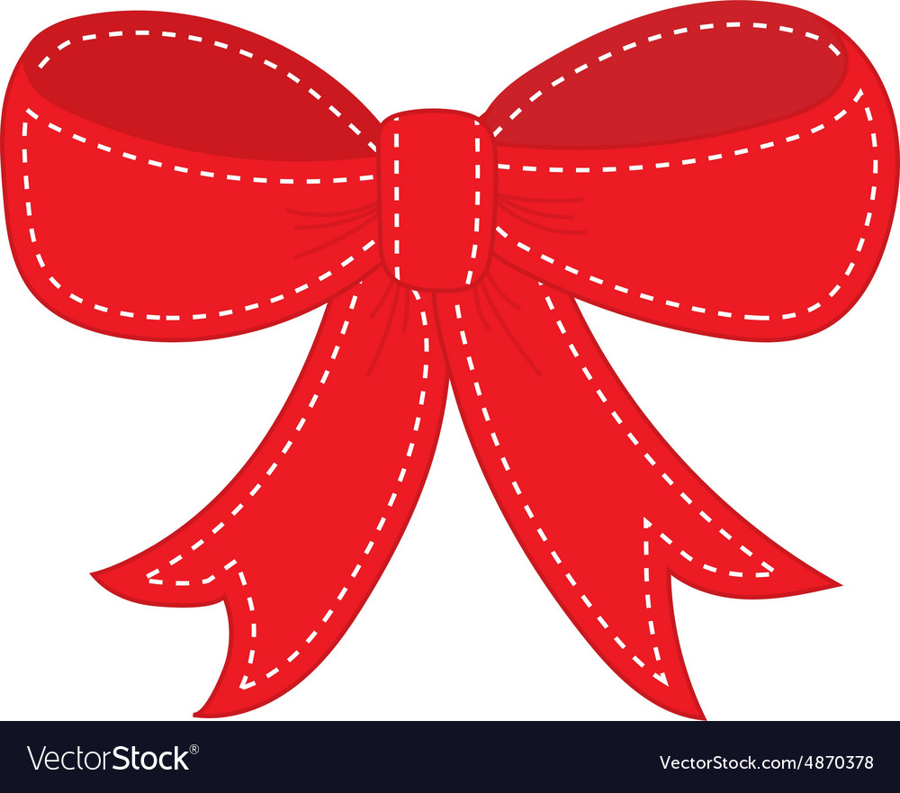 Hand drawn sketch of red festive bow vector