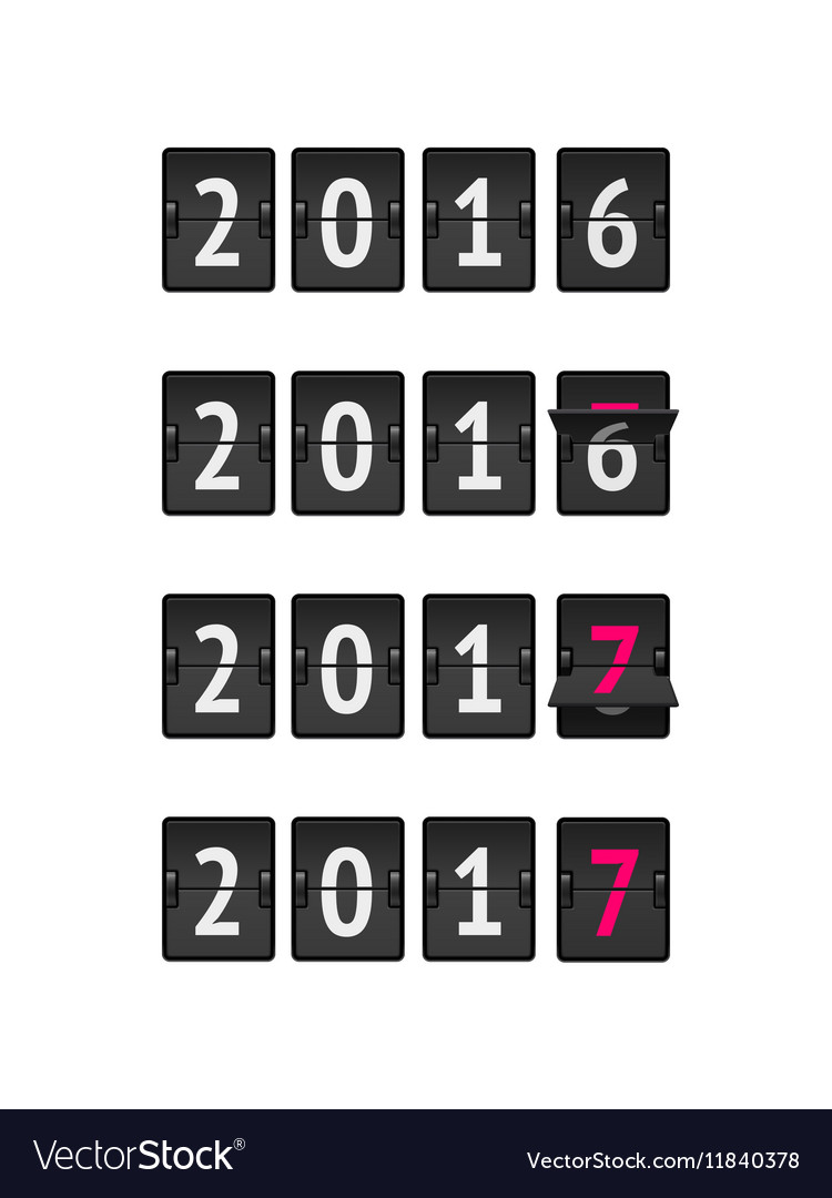 New year concept flip board at different states vector