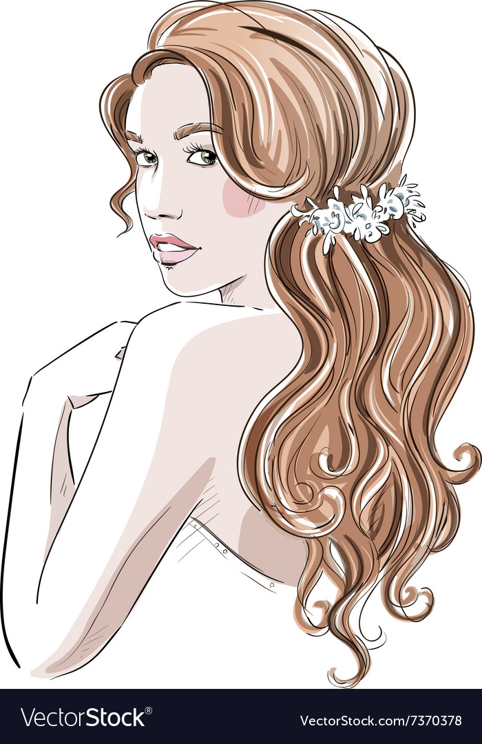 Sketch of a beautiful girl with bridal hairstyle vector