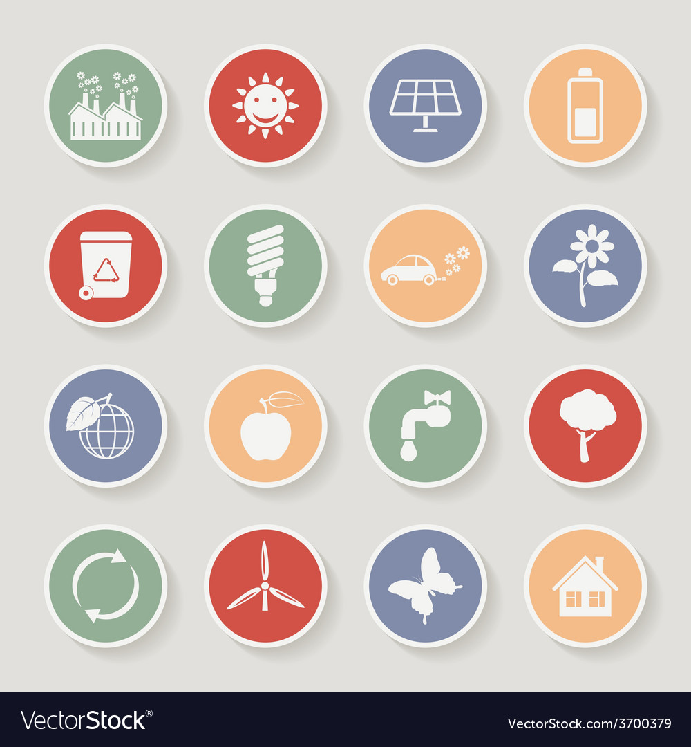 Round ecology icon set vector