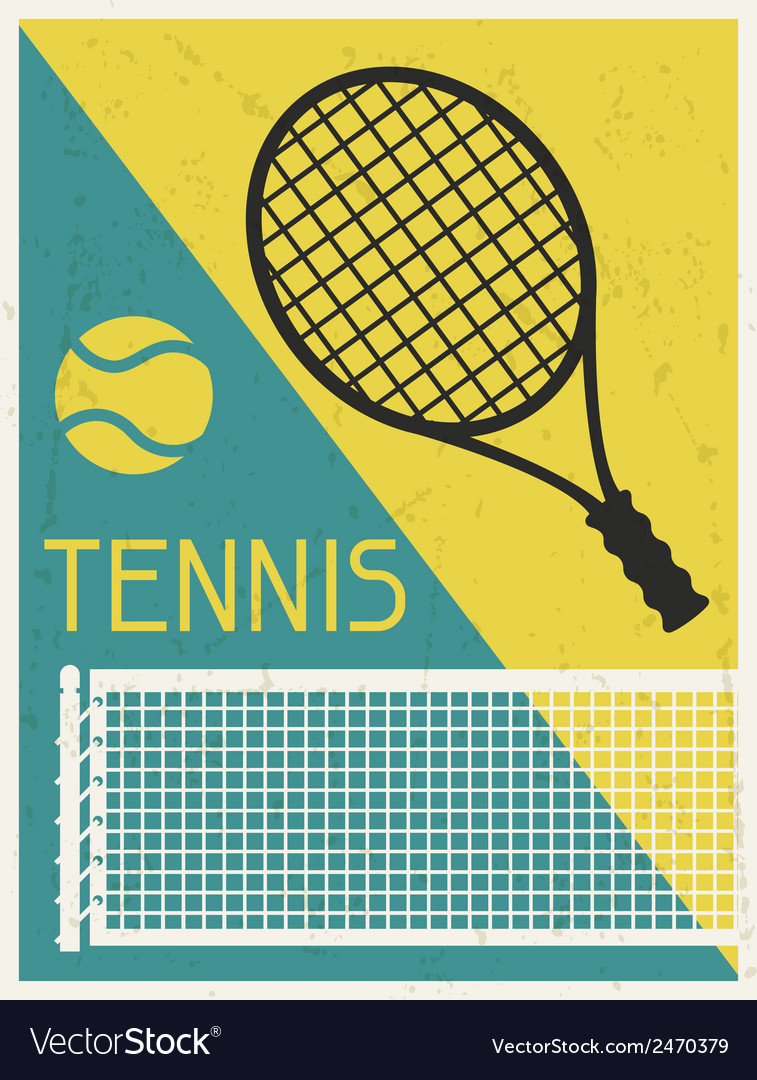 Tennis retro poster in flat design style vector