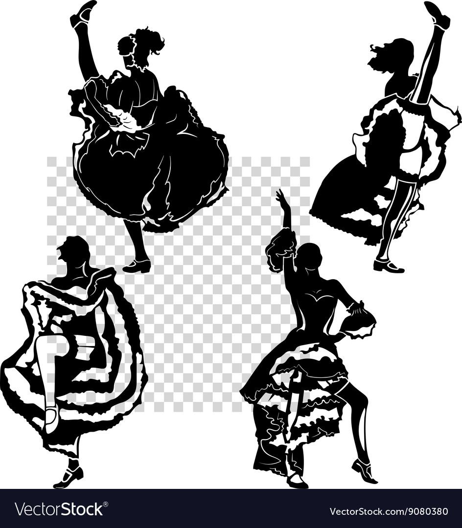 Cancan dancers silhouettes set vector