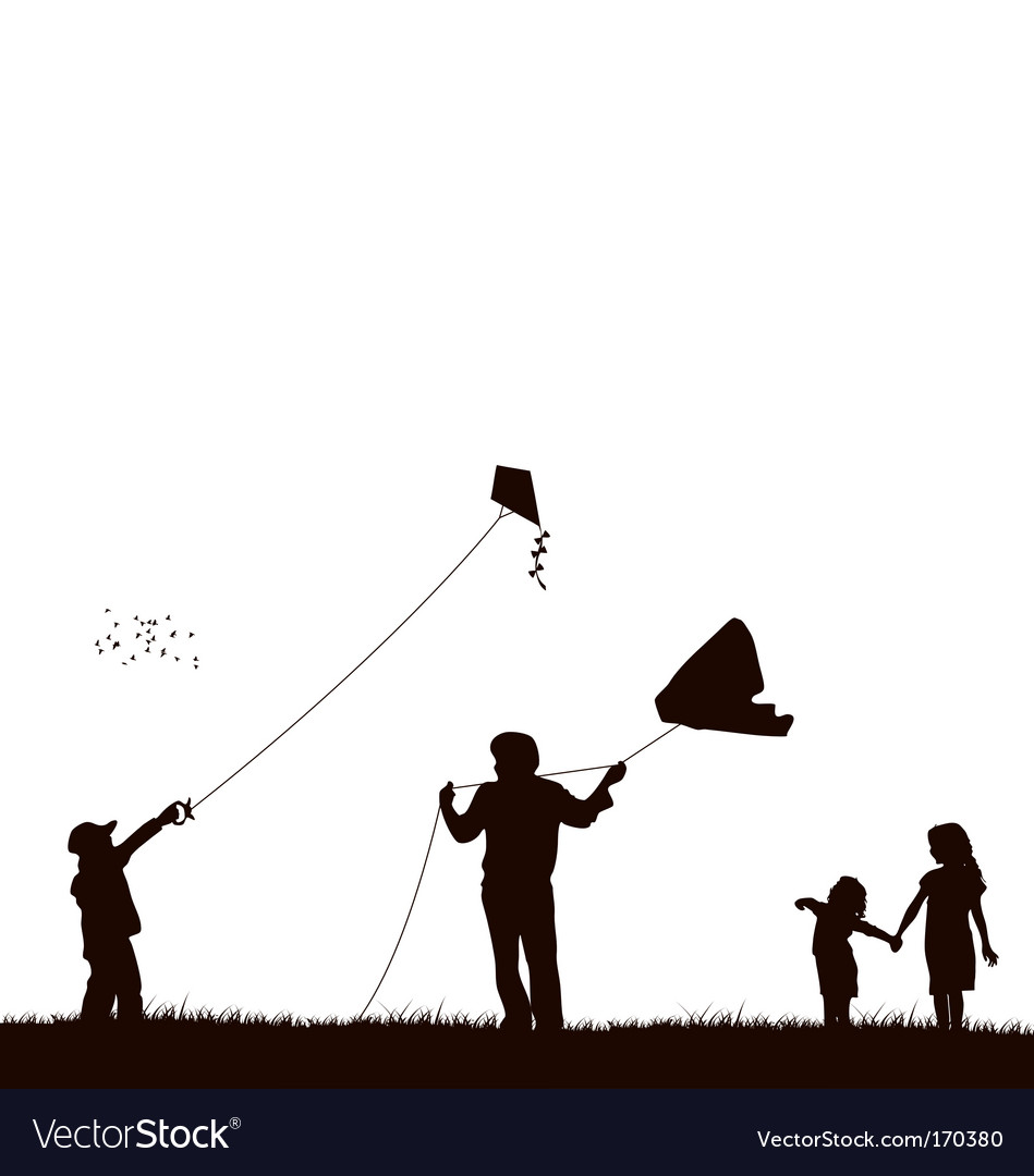 Family flying kite vector