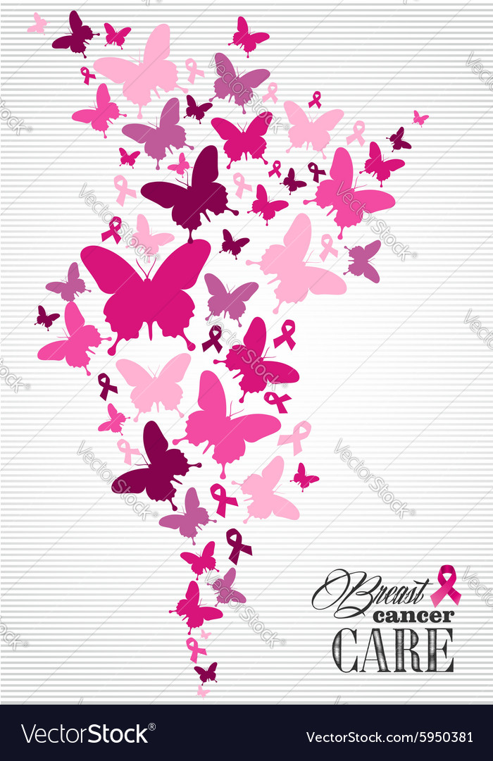 Breast cancer awareness butterfly ribbon poster vector