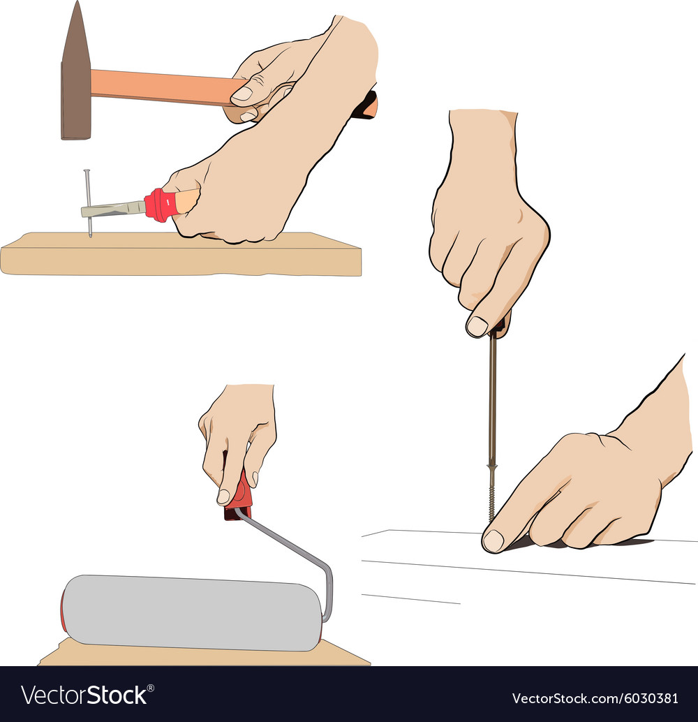 Collection  hand with tool industrial set icon vector