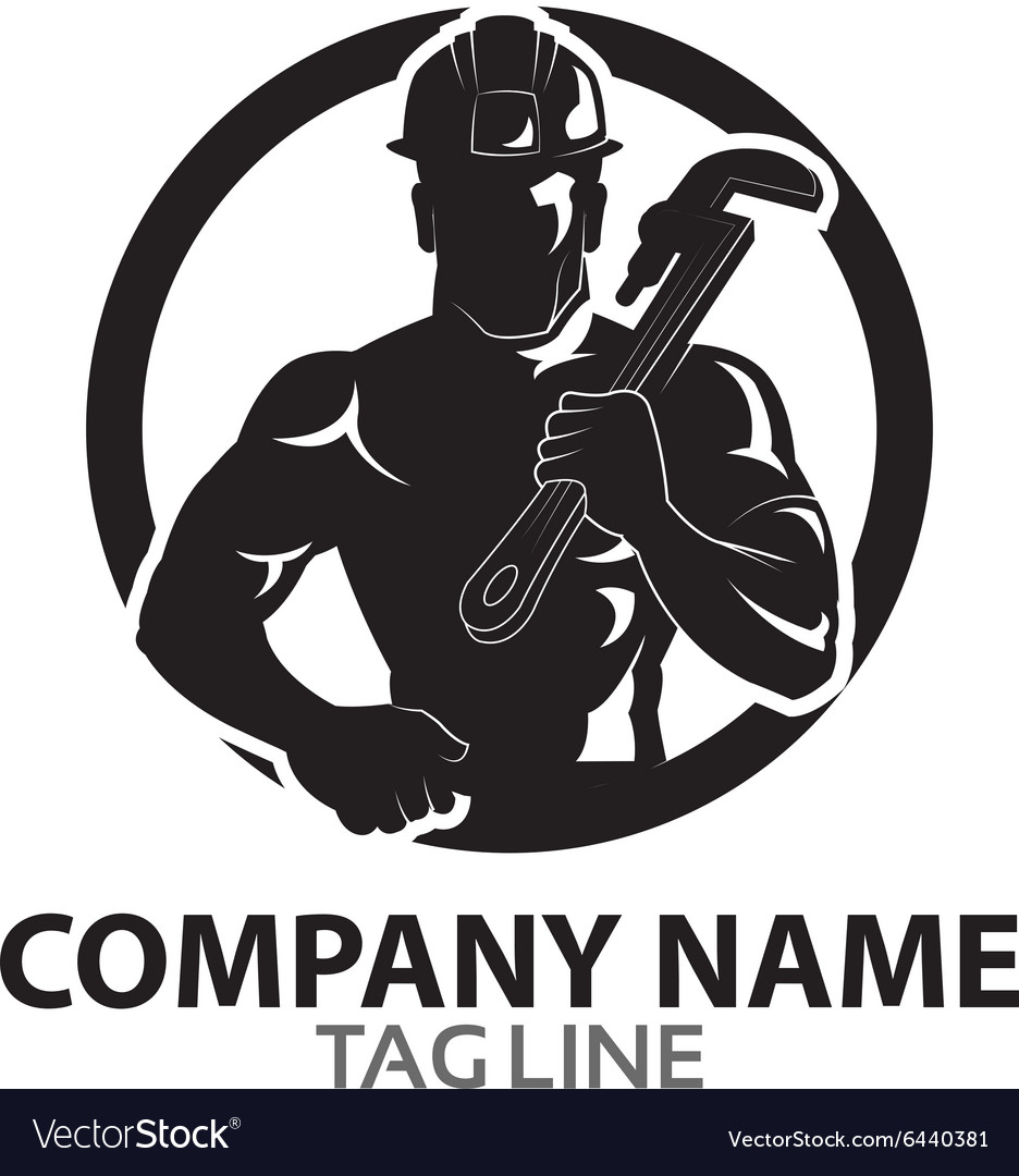 Oil rig worker logo vector