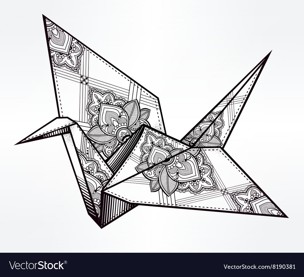 Ornate stylized paper crane vector