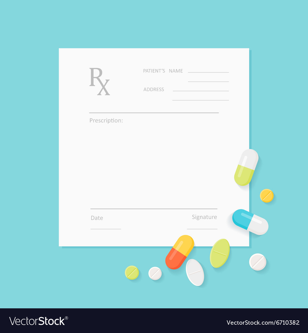 Blank medicine prescription form and pills vector