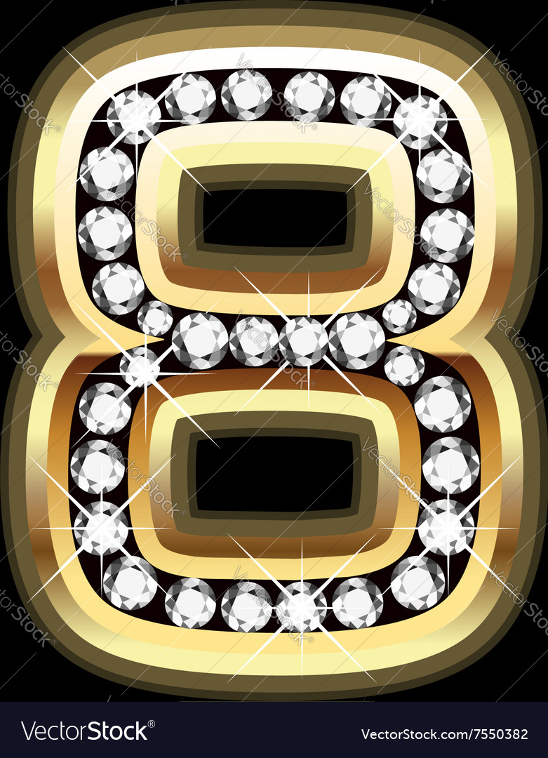 Number eight bling gold and diamonds vector