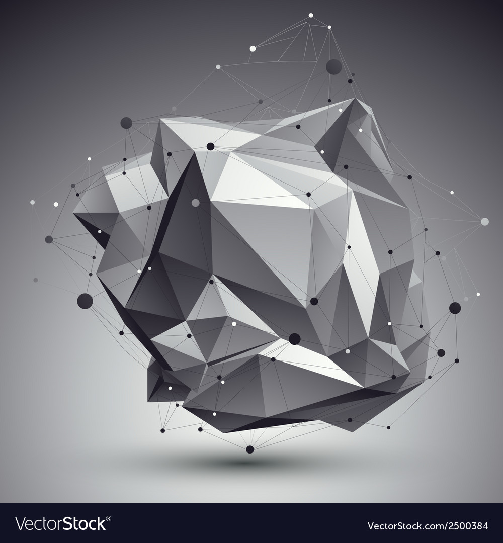 Geometric monochrome polygonal structure with wire vector