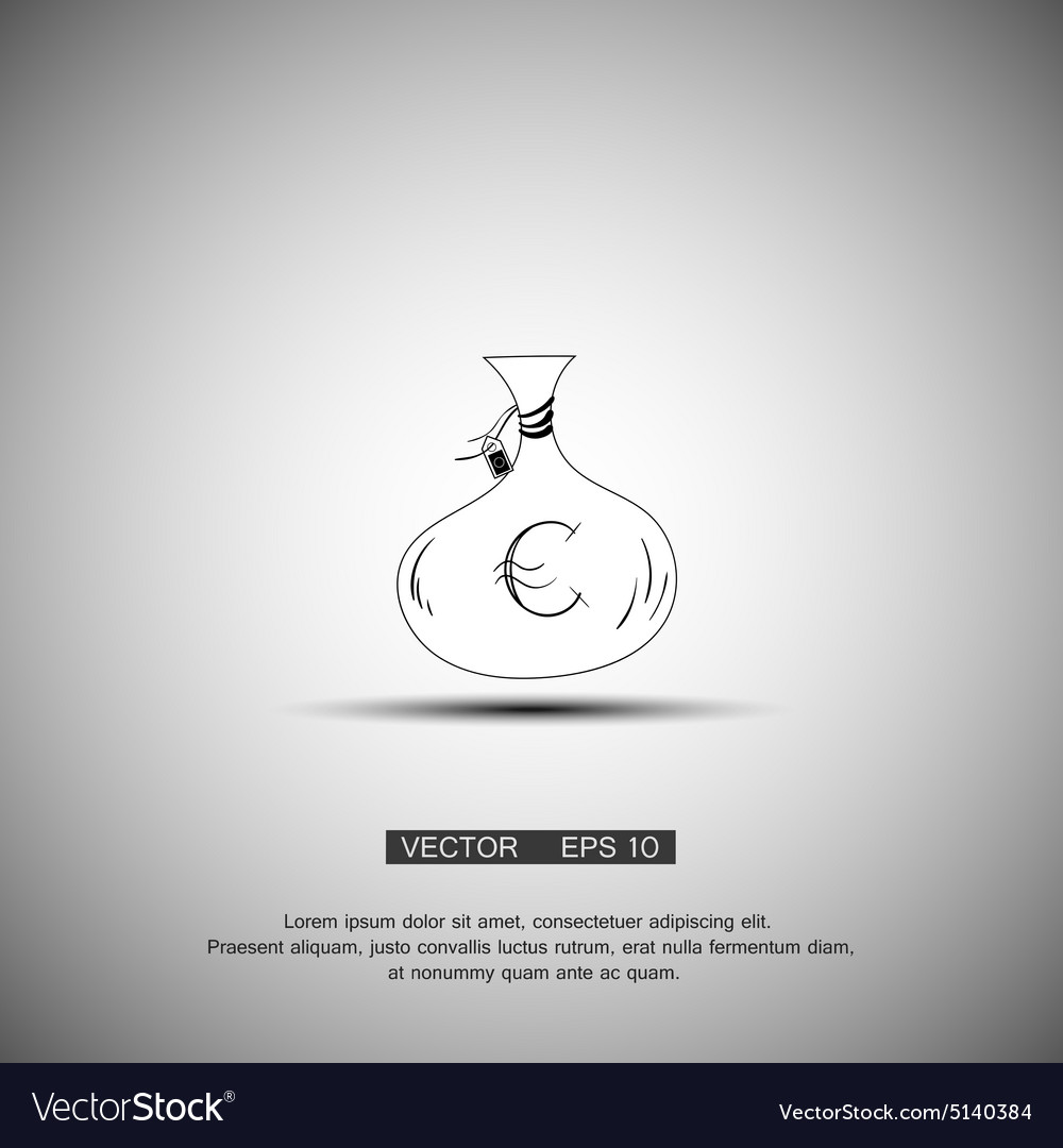 Money bag icon euro eur currency symbol flat vector