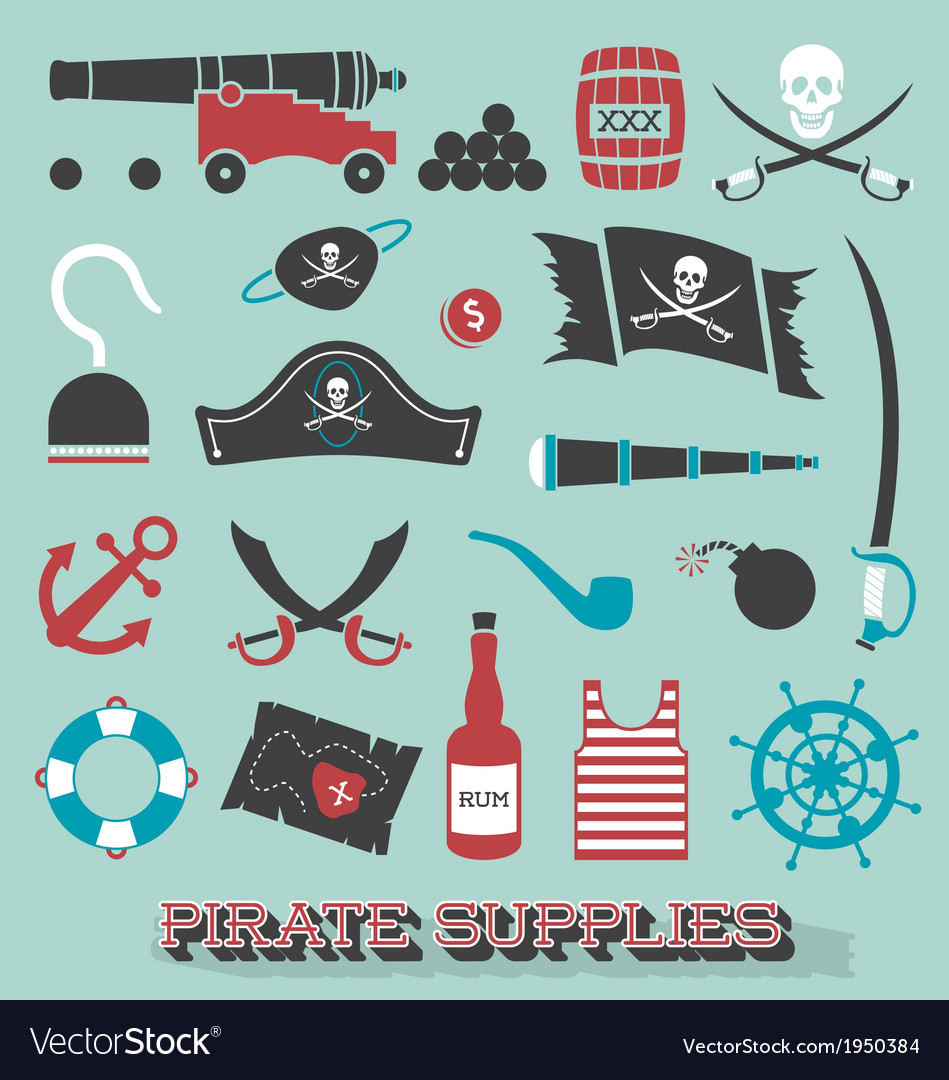 Pirate supplies silhouettes and icons vector