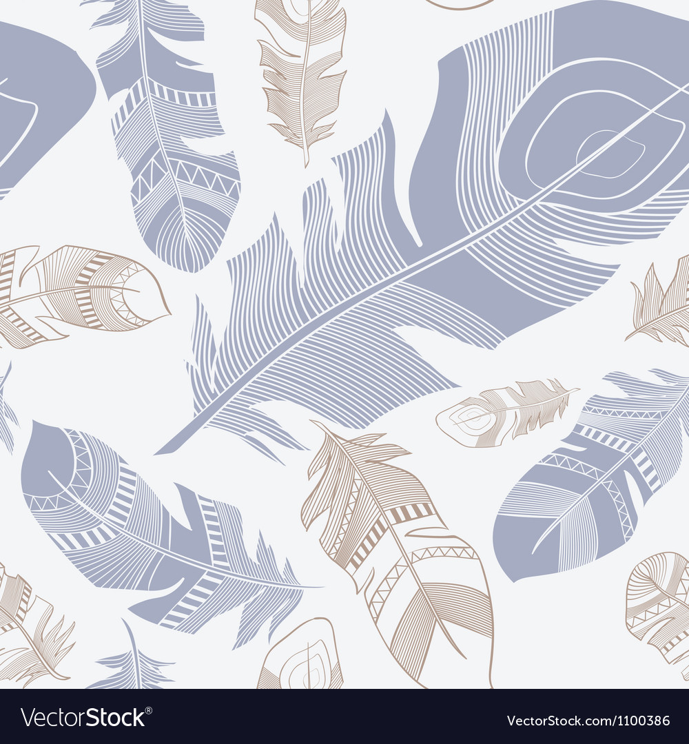 Seamless ethnic indian feathers plumage pattern vector