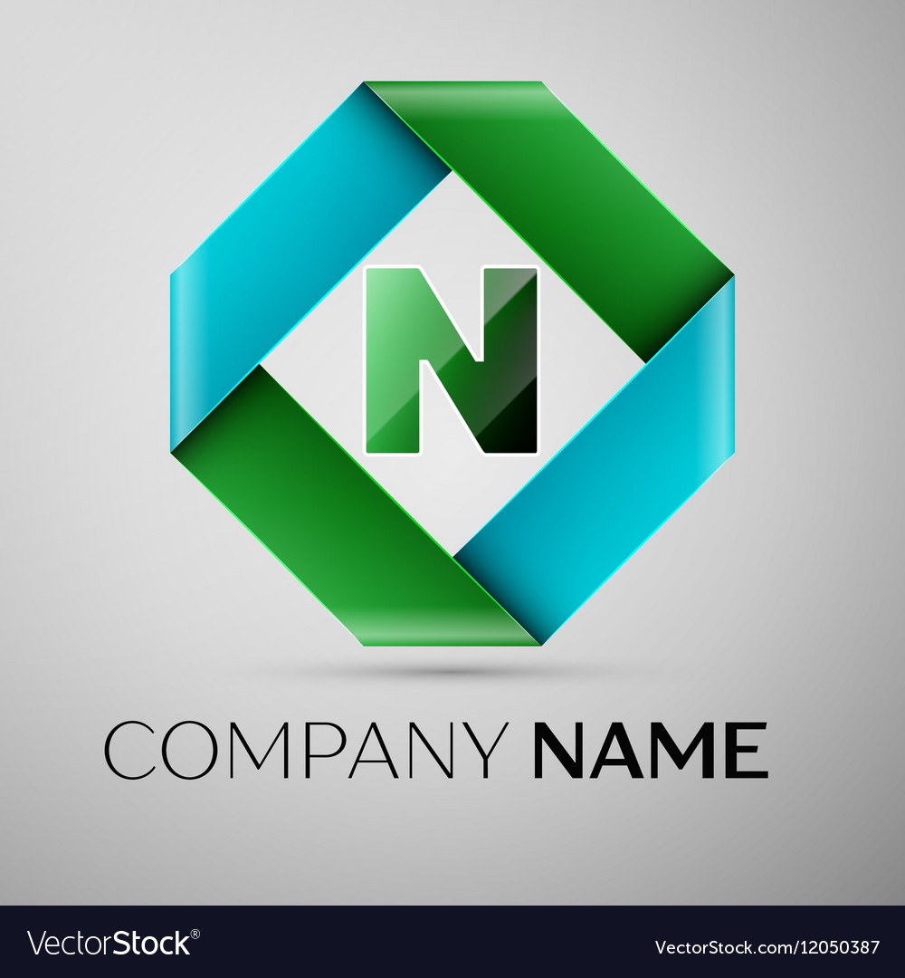 Letter n logo symbol in the colorful rhombus vector