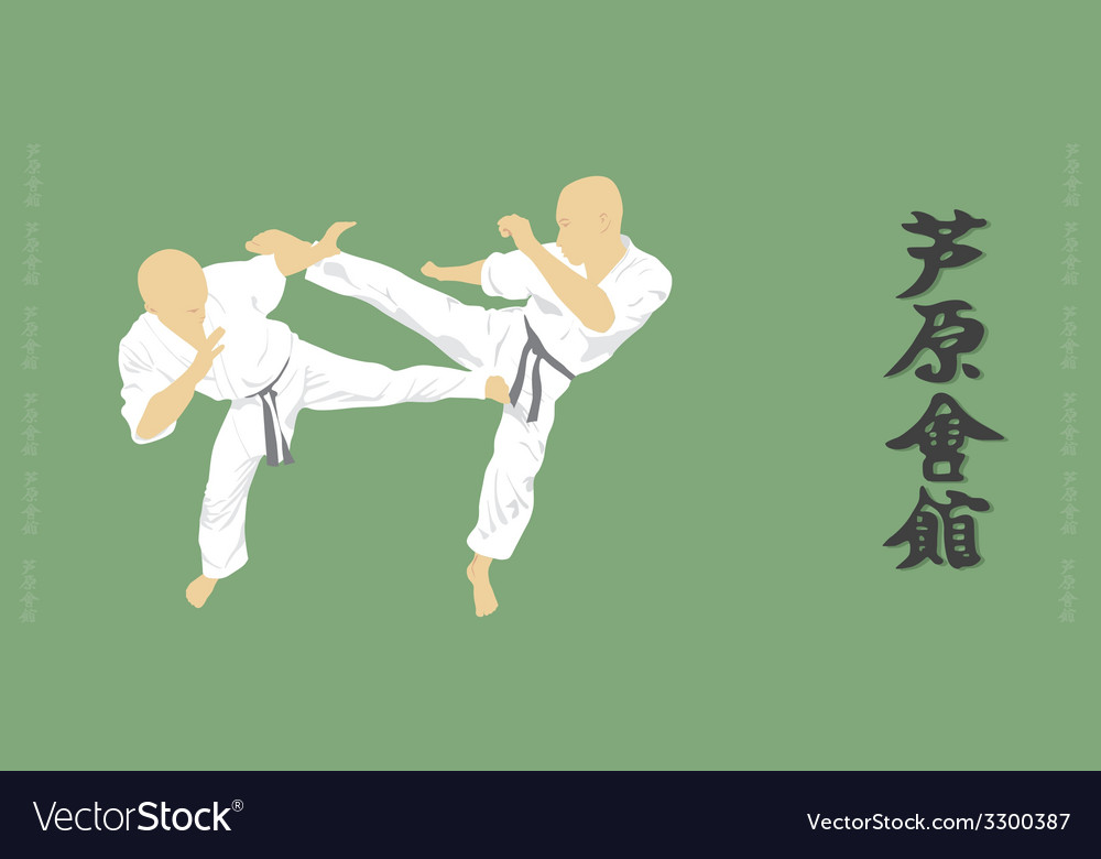 Two men are engaged in karate on a green vector