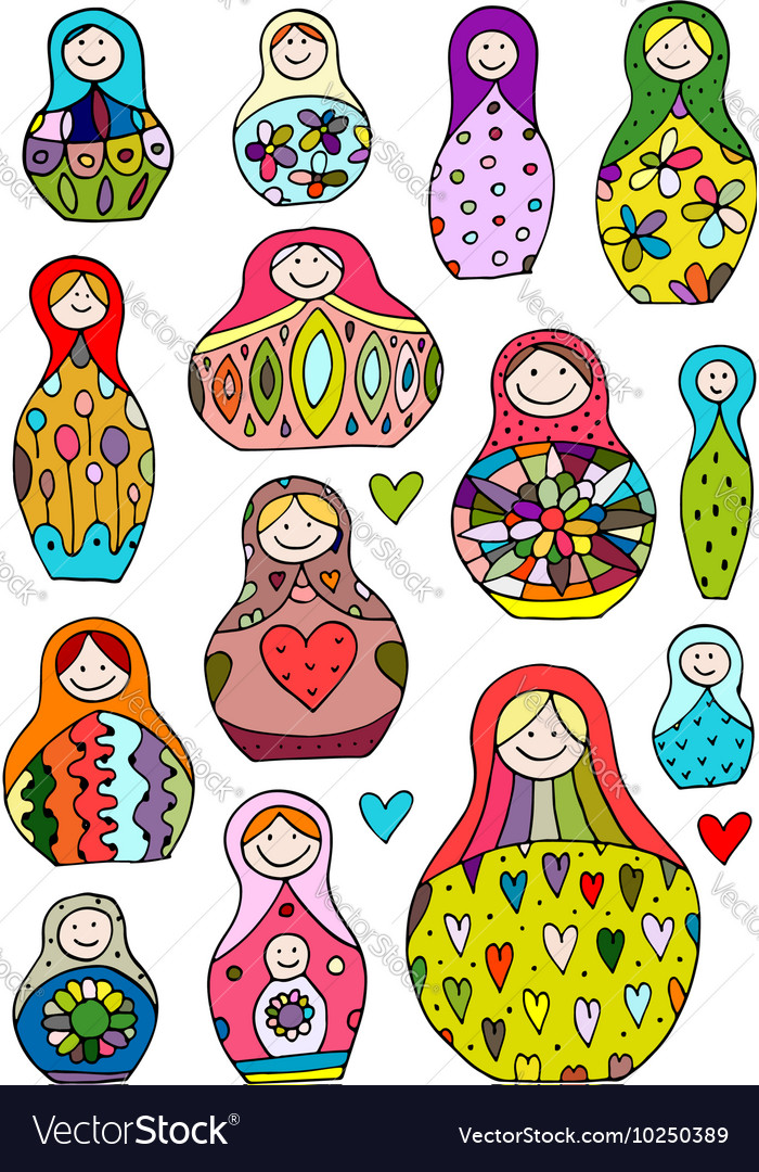Collection of russian nesting dolls matryoshka vector