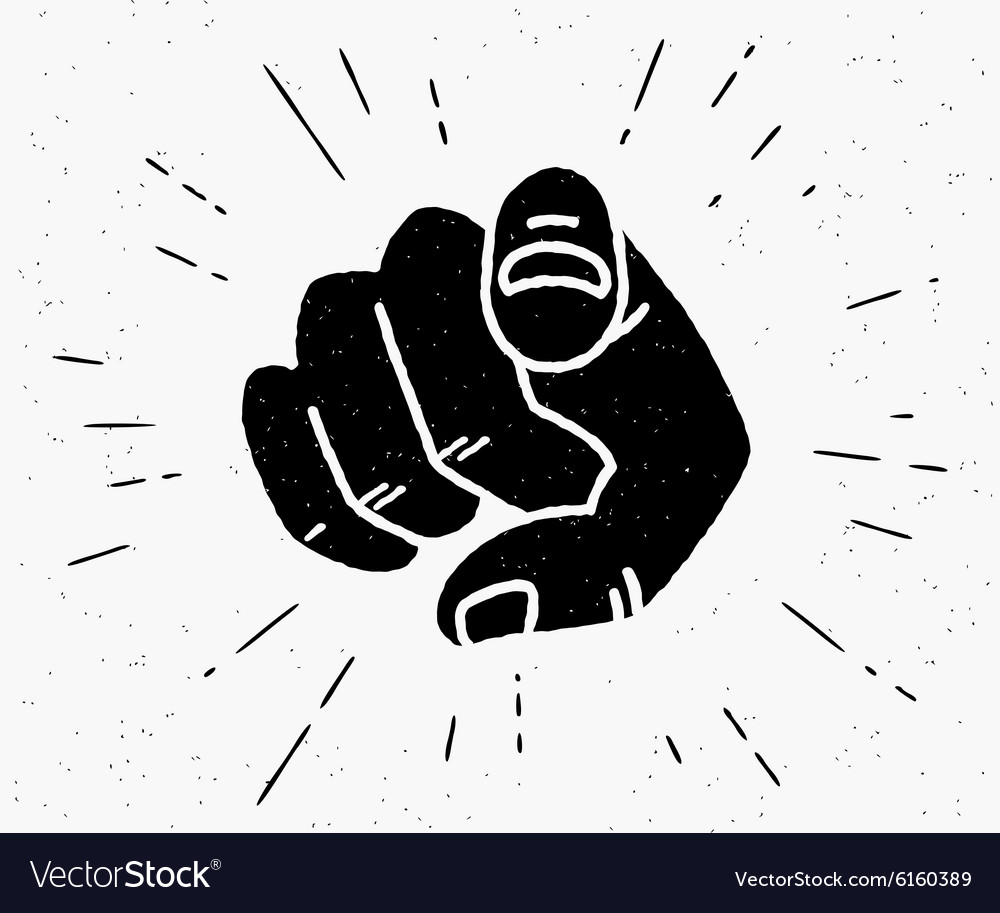 Retro black hand pointing finger vector