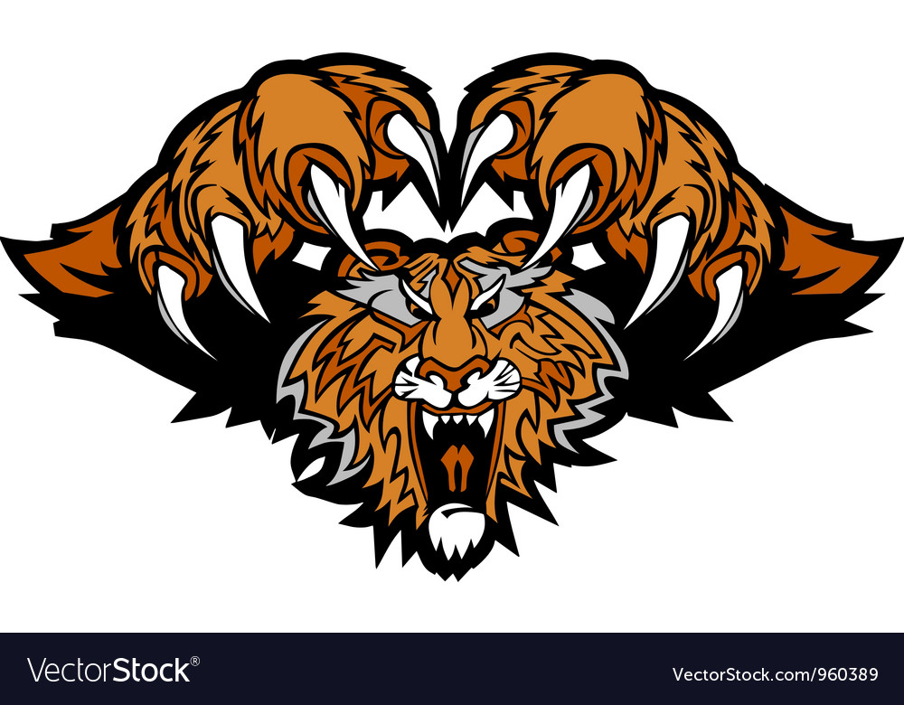 Tiger mascot pouncing graphic vector