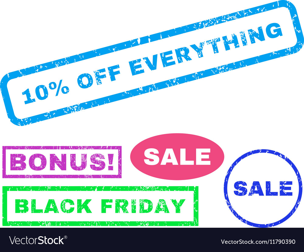 10 percent off everything rubber stamp vector