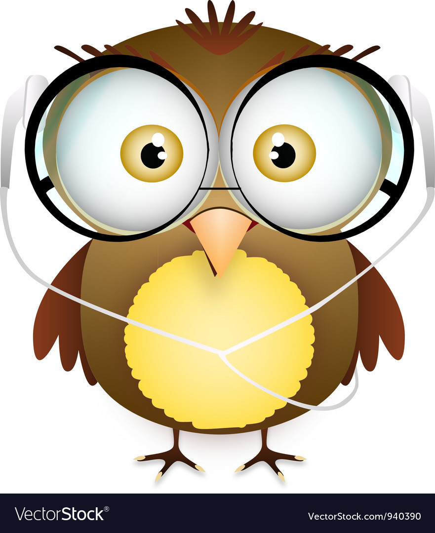 Cute fat bird with glasses and headphone vector