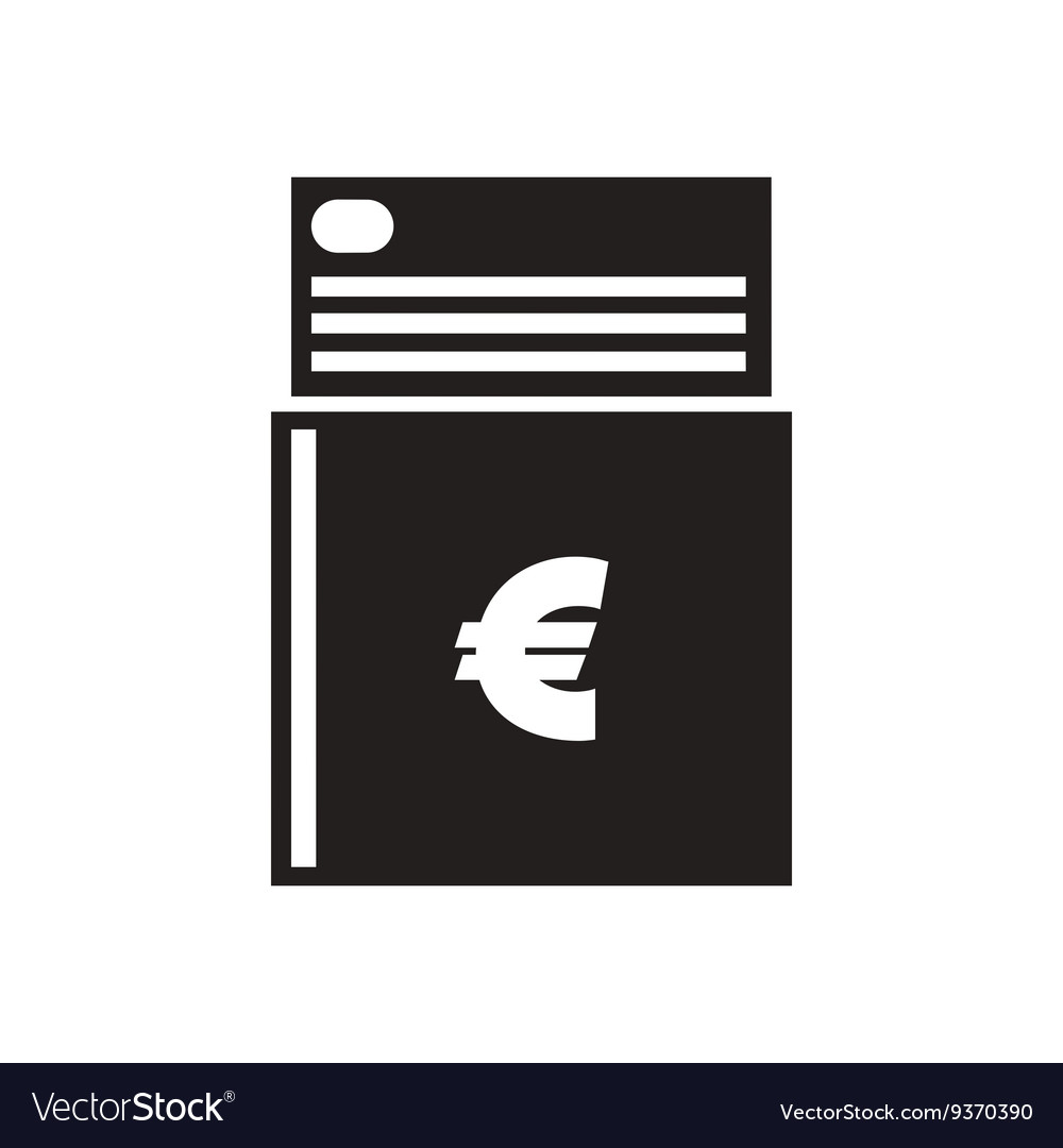 Flat icon in black and white checkbook vector