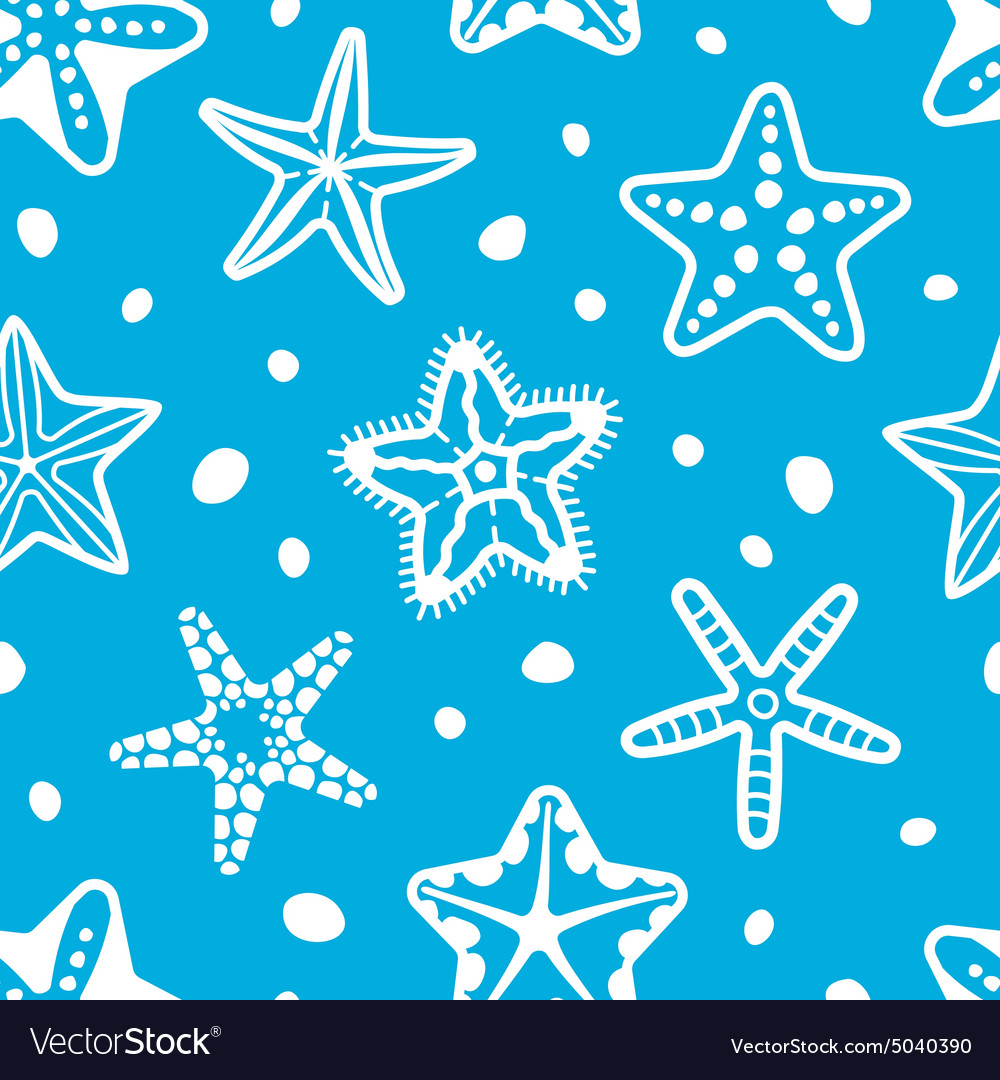 Sea seamless pattern with starfish vector