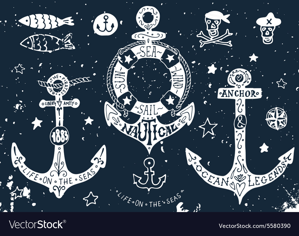 Set of hand drawn anchors with lettering on vector