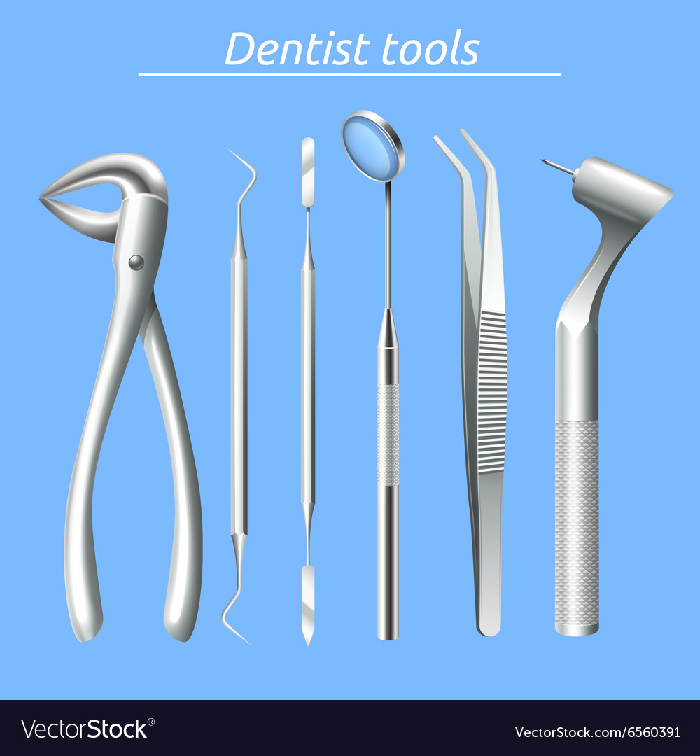 Dentist tools set vector