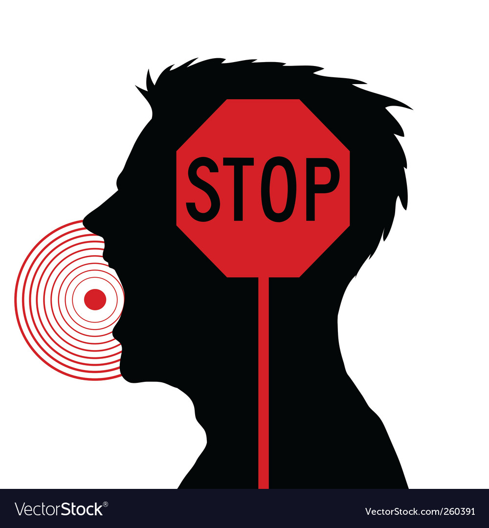 Men screaming stop sign vector