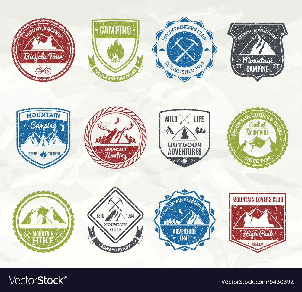 Mountain adventure stamps vector