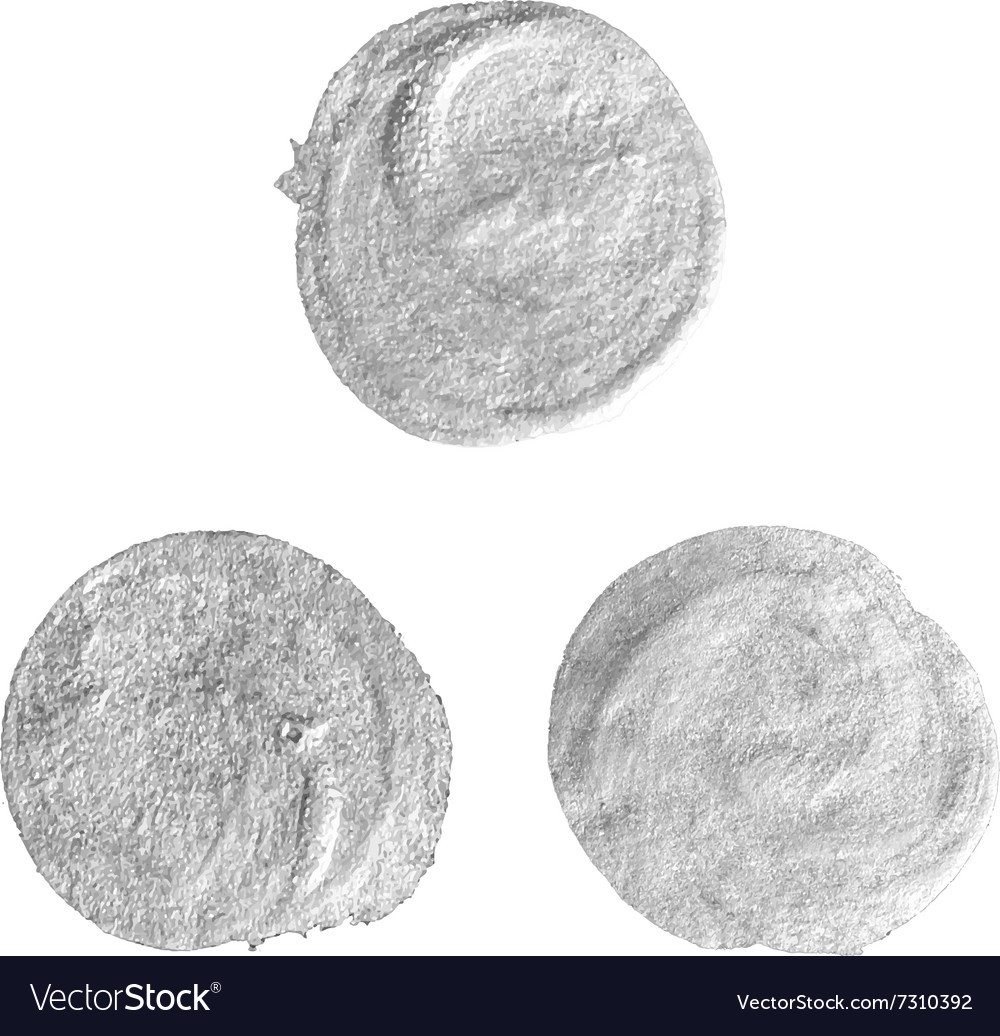 Set of round silver stains vector
