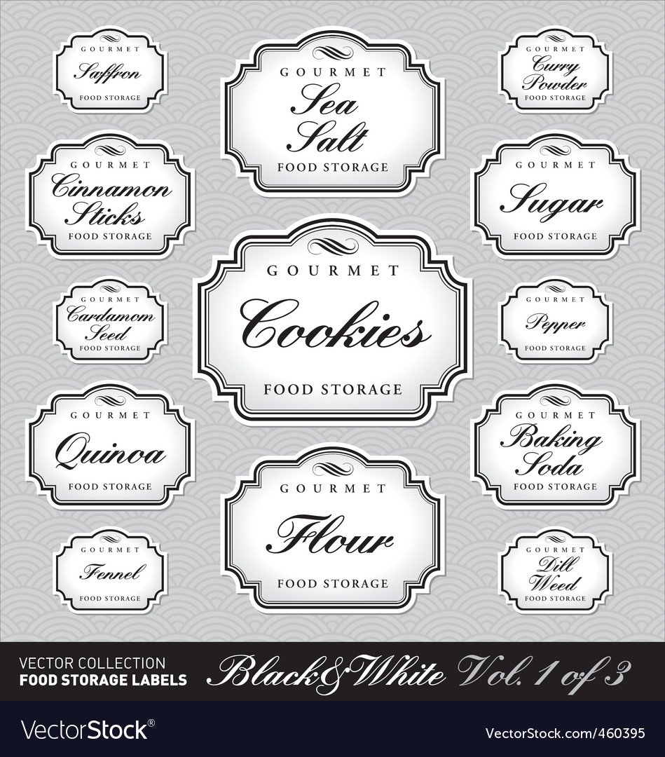 Ornate food storage labels vol1 vector