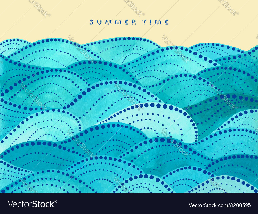 Summer time card on yellow background vector