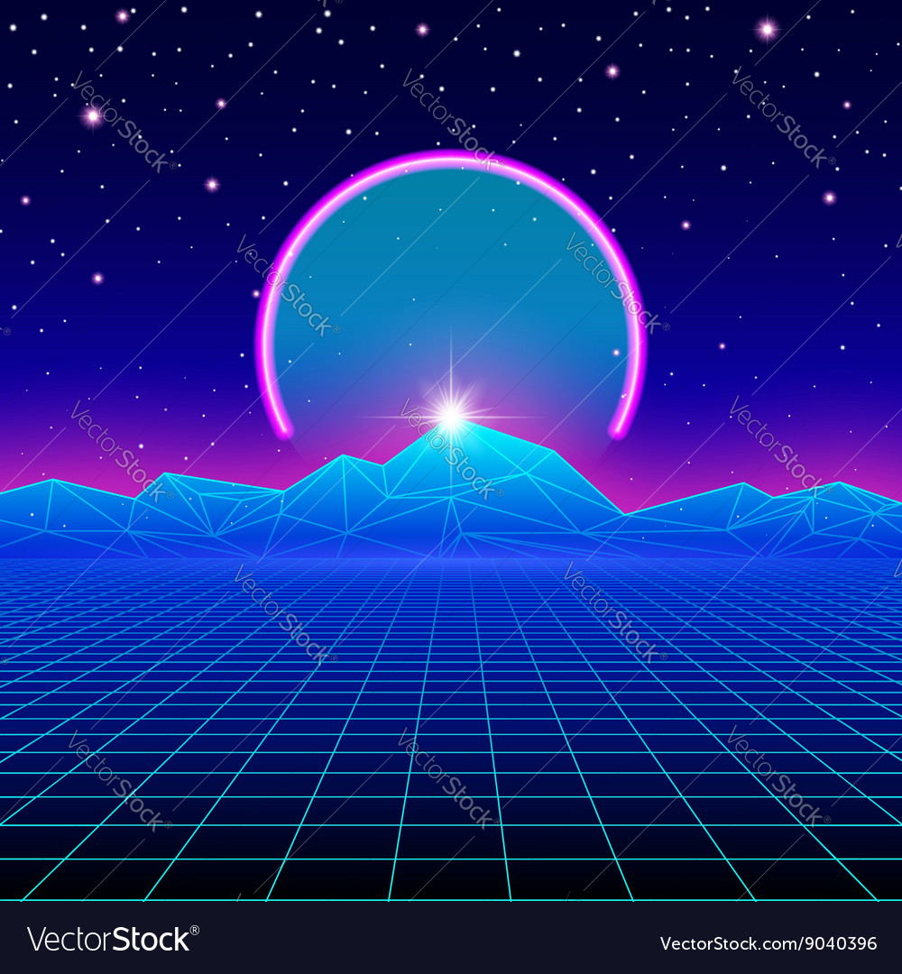 Retro styled futuristic landscape with neon arc vector