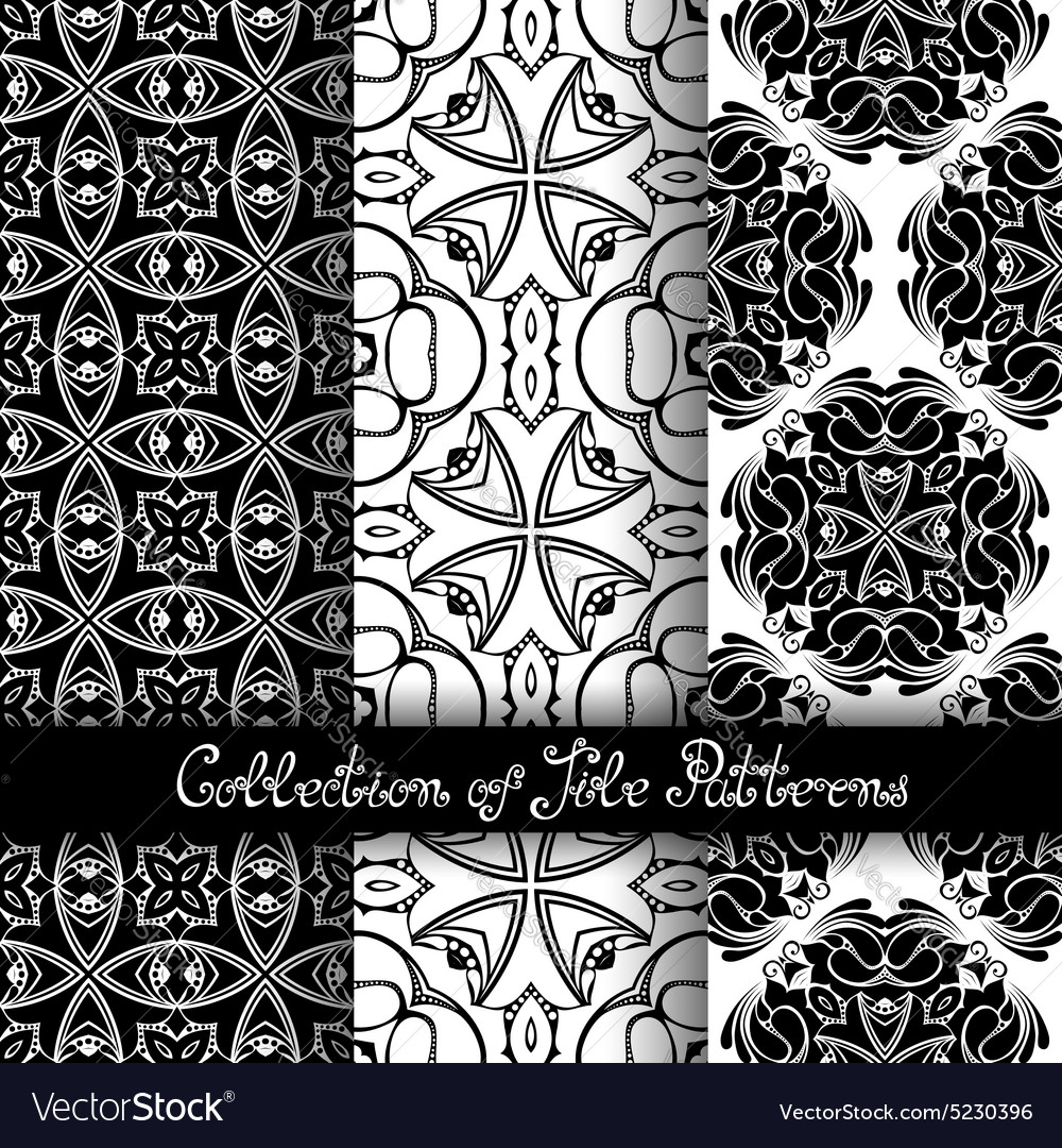 Set of 3 seamless vintage patterns vector