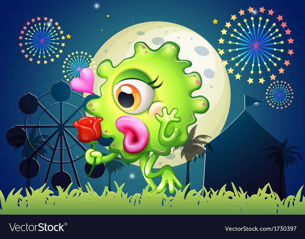 A monster holding a red rose at the carnival vector