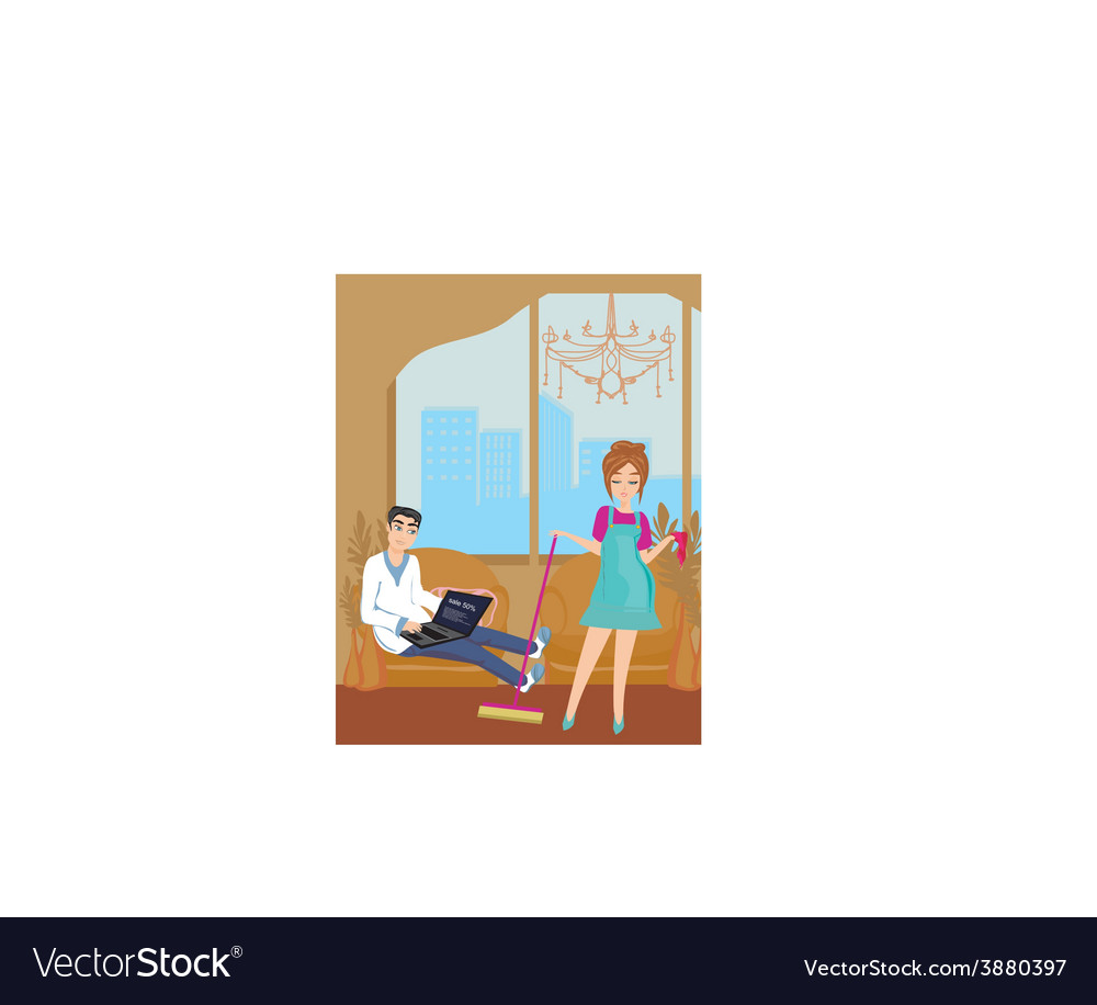 Housewife cleans the room vector