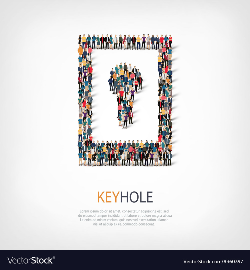 Keyhole people crowd vector