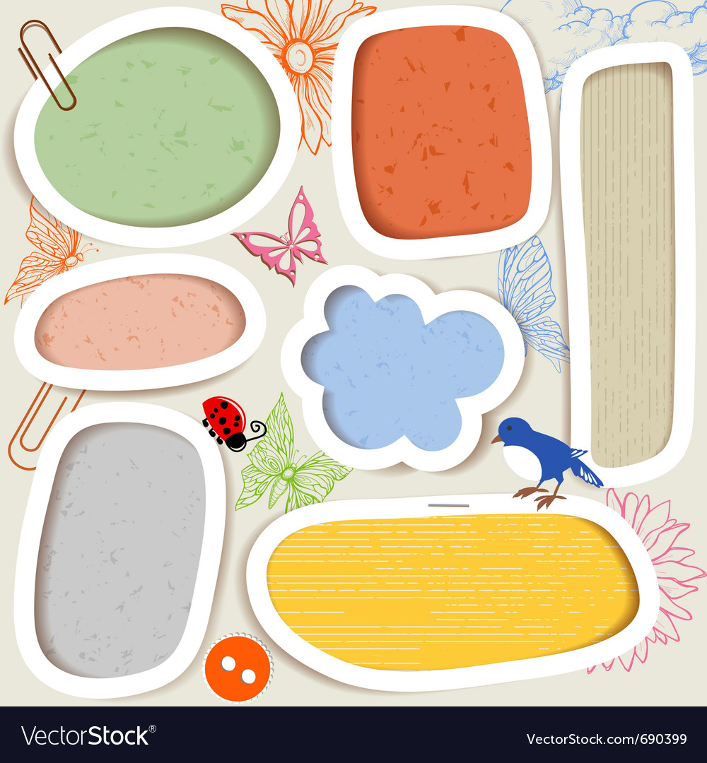 Cute paper frames vector