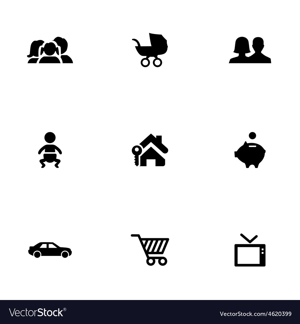 Family 9 icons set vector