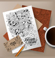 cartoon cute doodles russian food corporate vector image