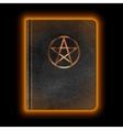 Glowing Leather Book With Pentagram vector image vector image